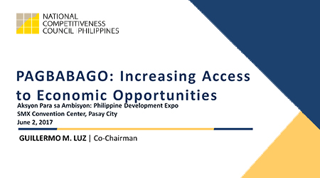 Presentation of Guillermo Luz on Pagbabago: Increasing Access to Economic Opportunities